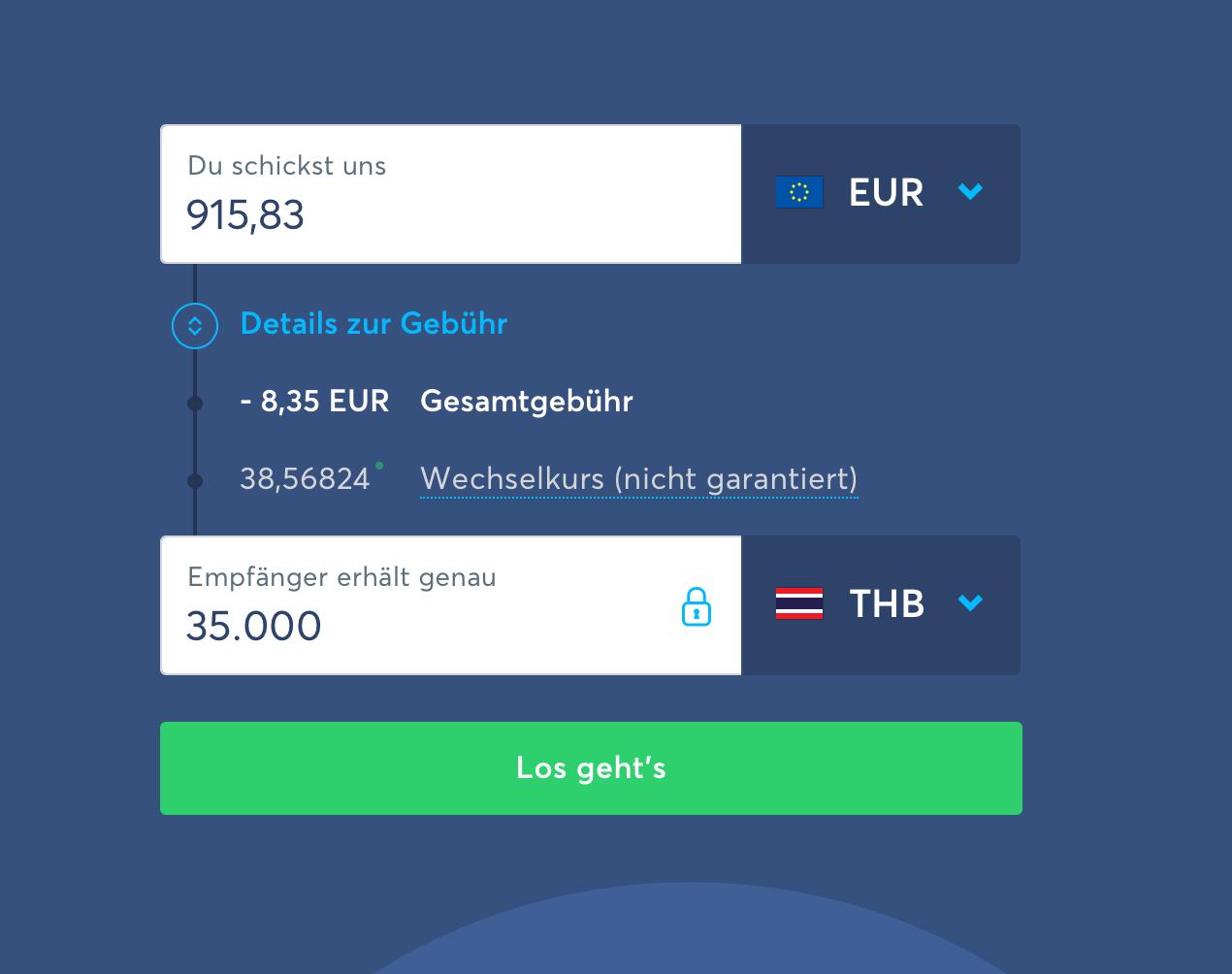 1. Transferwise Geld nach Thailand überweisen Anleitung