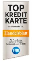 Advanzia Kreditkarte Handelsblatt Testsiegel
