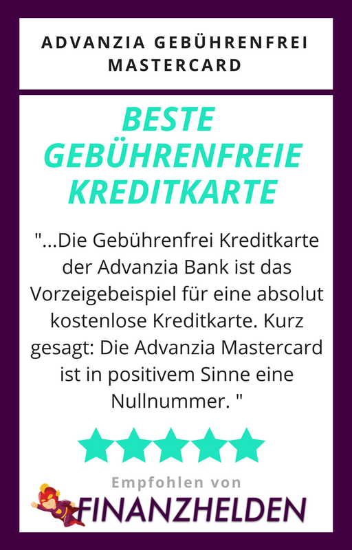 Gebührenfrei Kreditkarte Advanzia Testsiegel - Finanzhelden.org