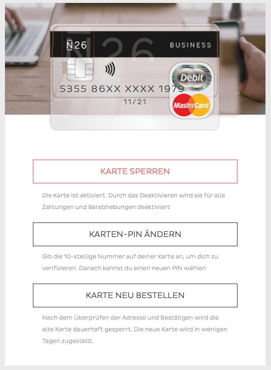 N26 Karte sperren - neu bestellen