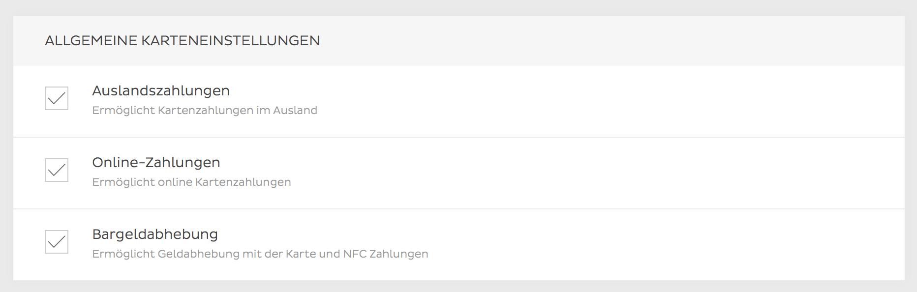 N26 Konto gesperrt - Allgemeine Karteneinstellungen