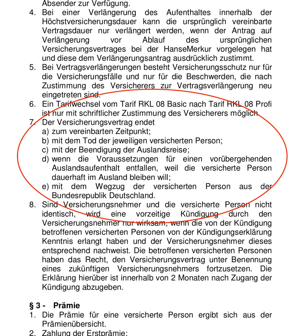 Hanse Merkur Langzeit Auslandskrankenversicherung - Klausel